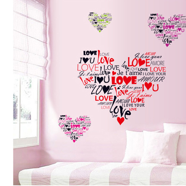 Romantic Love Heart Wall Stickers Decals Quote Words Sayings Vinyl Mural Art Wedding Bedroom Living Room Decoration - Madegiftforyou Factory Store store