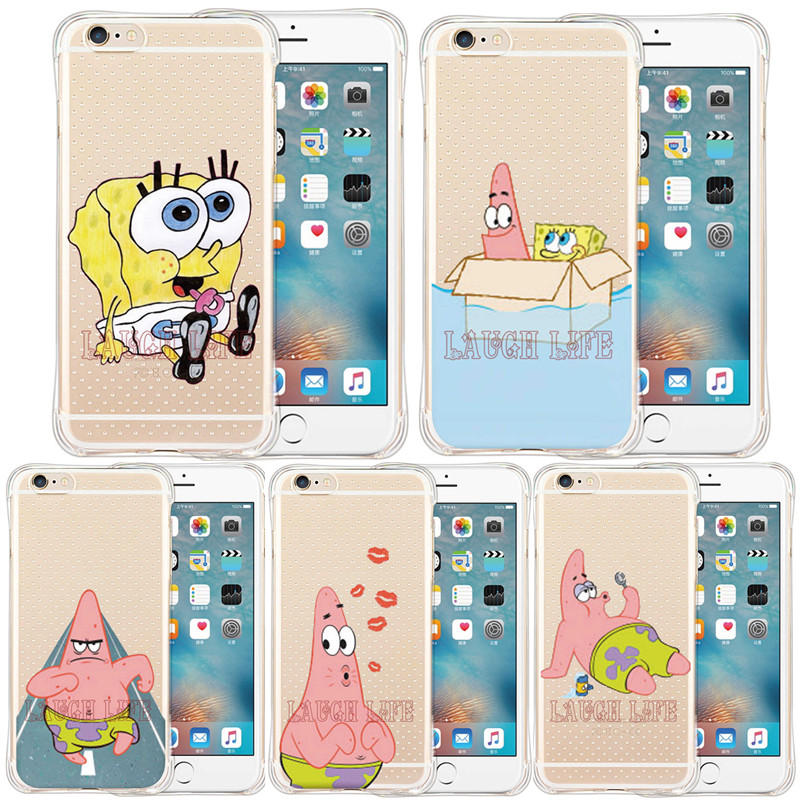 Brand New Shock Proof Sponge Bob Case for iPhoneSE 5S 6 6S 6Plus 6S Plus Cute Painters Patrick Pajamas Sponge Bob Patricks Kiss(China (Mainland))
