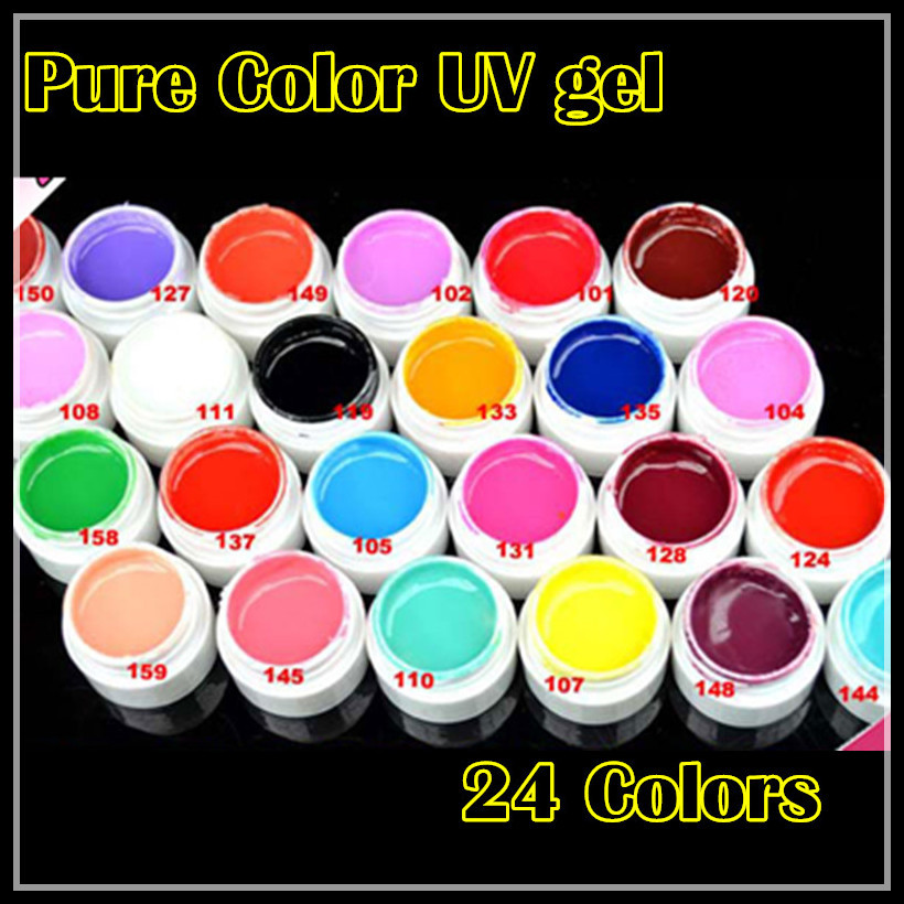 2015 Hot Nail Gel Polish Soak Off Nail pure Color UV Gel Polish 5ml 24pcs Nail Gel for Nail Art 24colors