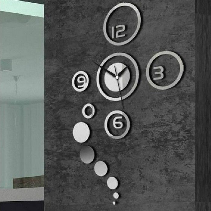 2014 New Fantastic Hot Sale DIY 3D Home Modern Decoration Crystal Mirror Room Wall Clock Silver Free Shipping Feida(China (Mainland))