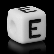 "Buy 8SEASONS Acrylic Spacer Beads Square White Letter Pattern ""E"" 10mm (3/8"")x 10mm (3/8""),Hole: Approx 4mm,100 PCs for $4.27 in AliExpress store"