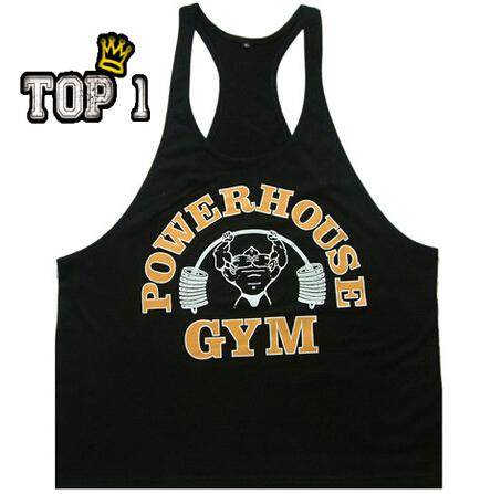 2015 Newest Brand powerhouse musculation Bodybuilding Fitness Men Cotton T Shirt Vest Men' Gym Tank Tops Sports Plus Size M-XXL(China (Mainland))