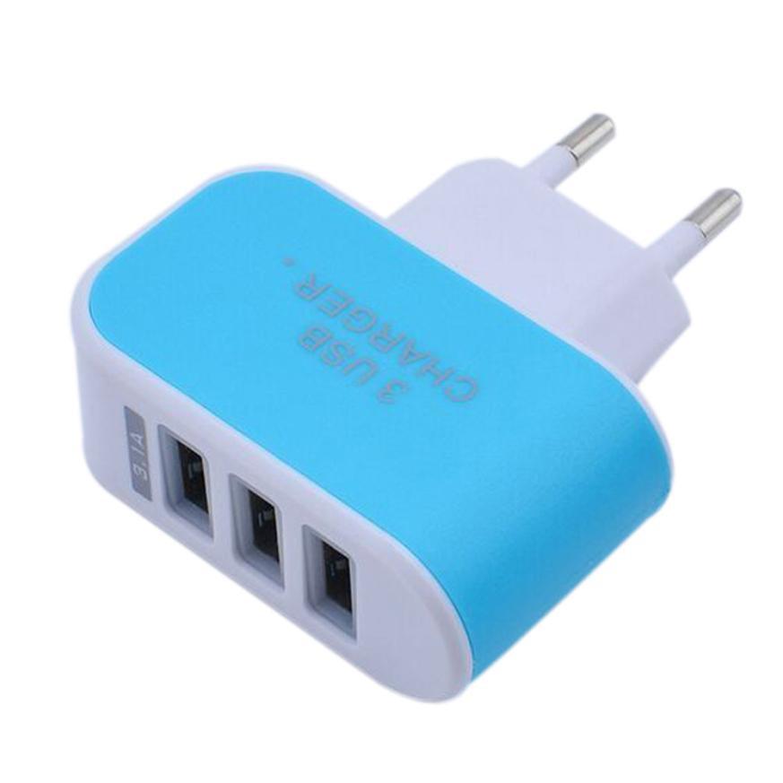 3.1A Triple USB Port Wall Home Travel AC Charger Adapter for S6 EU Plug Jun01