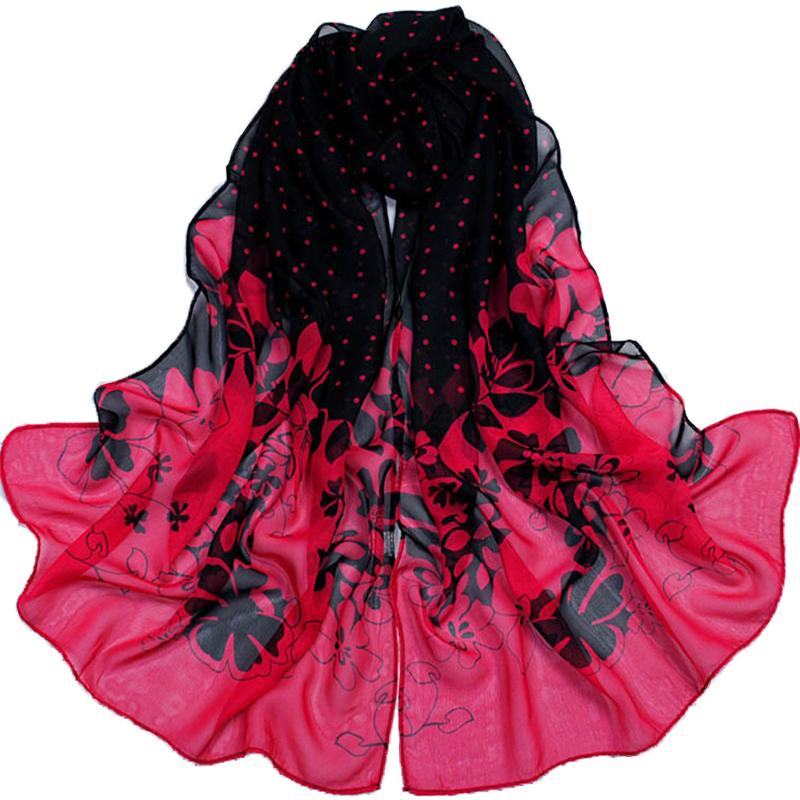 new 2015 spring and autumn women georgette chiffon scarves fashion dot flower pattern thin long scarf shawl cachecol wholesale(China (Mainland))