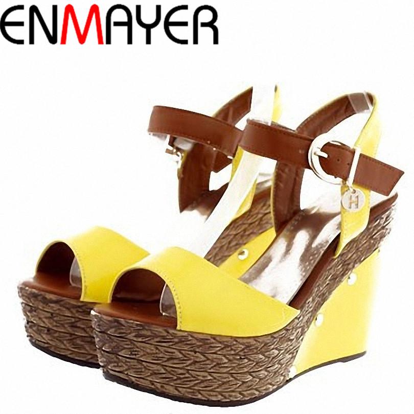 ENMAYER 2014 New Size 34-39 ladies high heel sandals, summer womens open toe button straw braid wedges platform beach sandals<br><br>Aliexpress