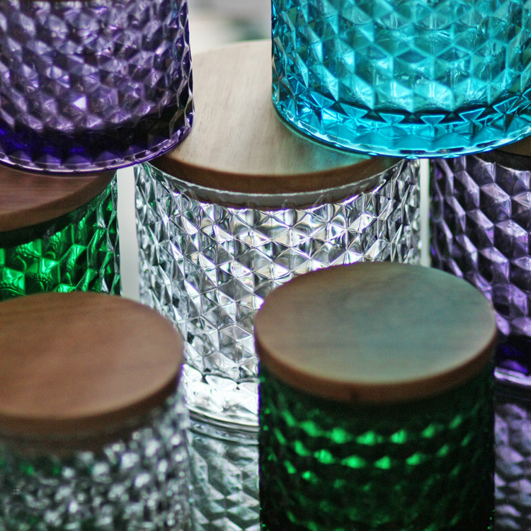 New arrival 1pcs Colorful Retro stained glass oak lid glass sealed cans Storage bottles Glass jars Water Cube Home decoration(China (Mainland))