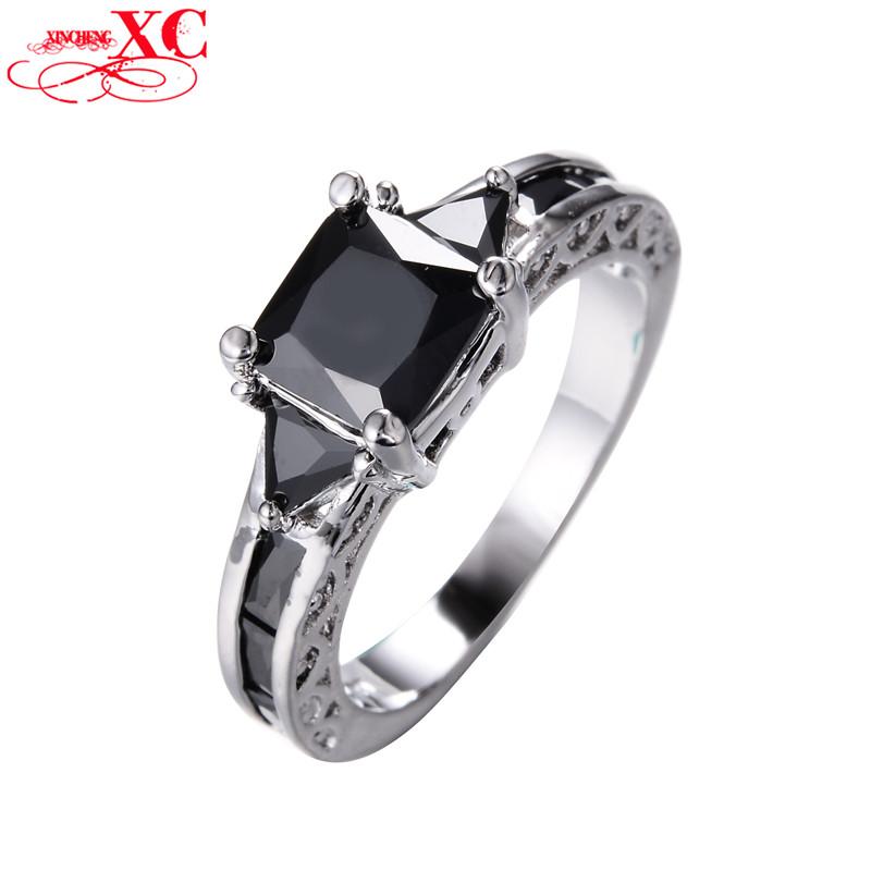 Princess Cut Black Sapphire Rings for Women Men Wedding Band 10K White Gold Filled Zircon Engagement Ring Fashion Jewelry RW1434(China (Mainland))