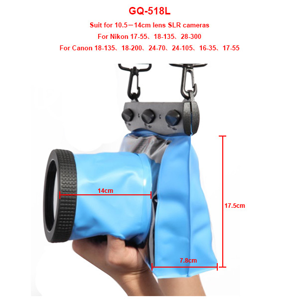 GQ-518L Waterproof 20M Camera Case Soft Bag For Canon/Nikon SLR DSLR Cameras Diving Swimming Drifting Protective Housing Cases(China (Mainland))