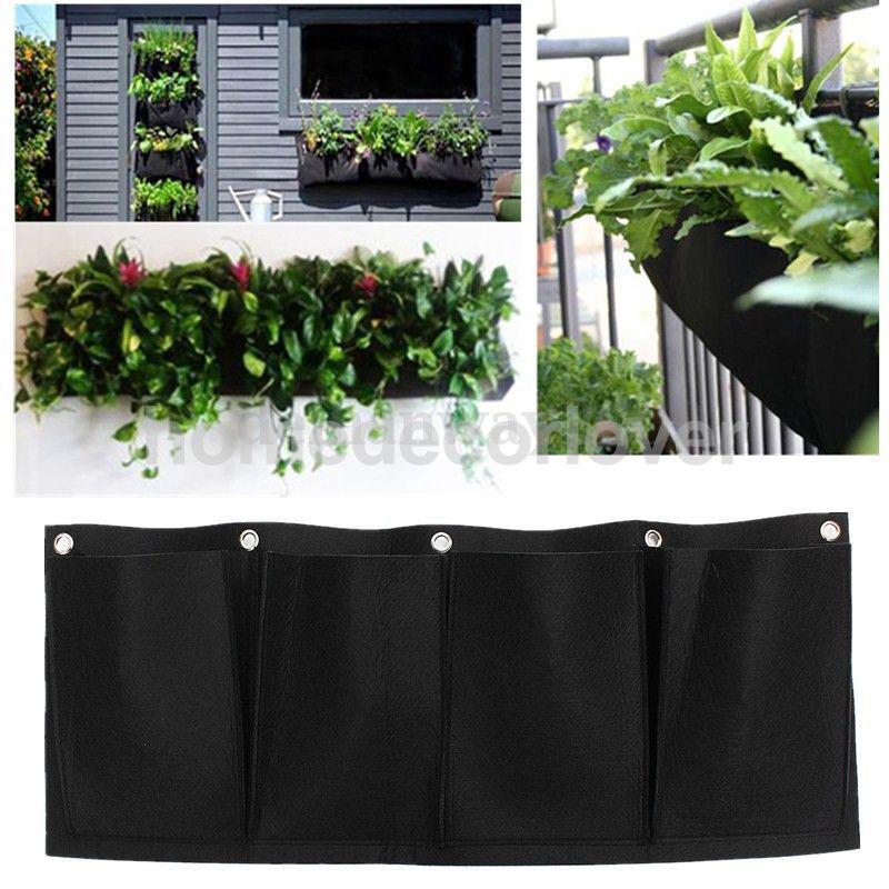 4 Pockets Hanging Horizontal Garden Wall Planter Bag
