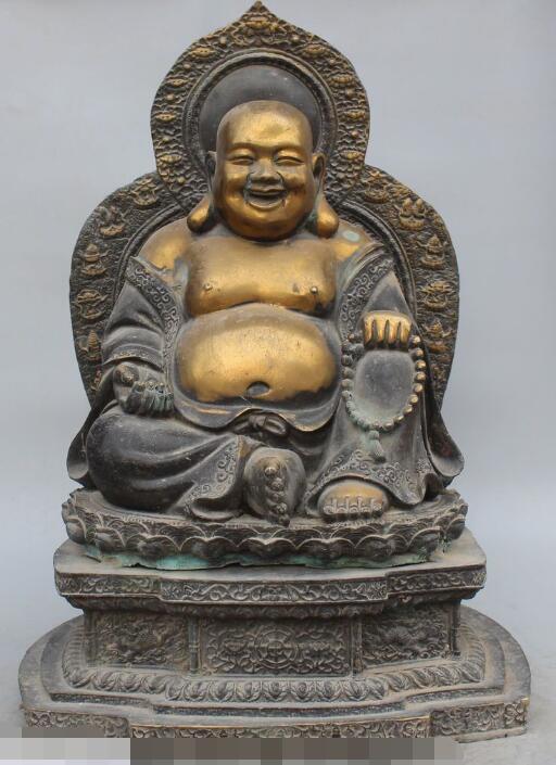 "S02081 20""Old Purple Bronze 24K Gold 8 Symbol Happy Laugh Maitreya Buddha Dragon Statue(China (Mainland))"