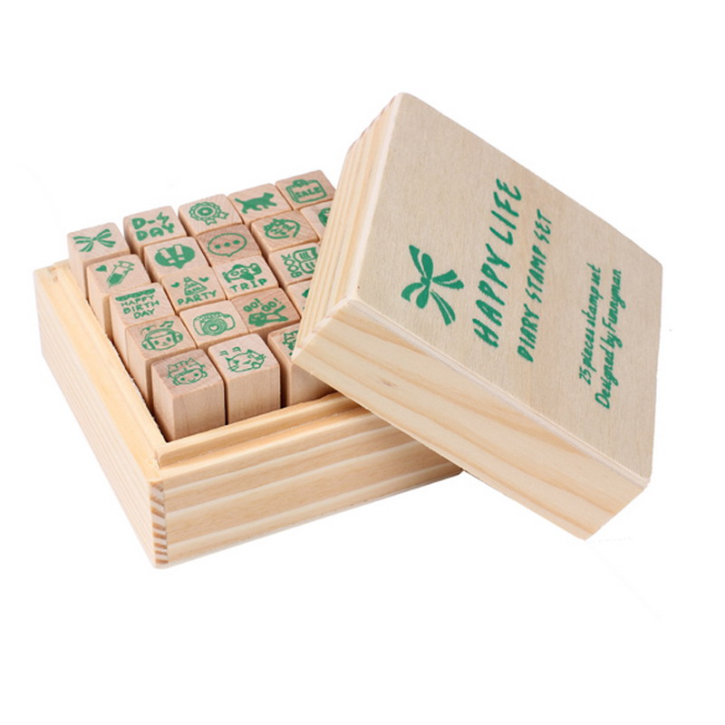 2016 Hot 25pcs Happy Life Diary Stamp Set DIY Rubber Wooden Stamp with Wooden Box(China (Mainland))