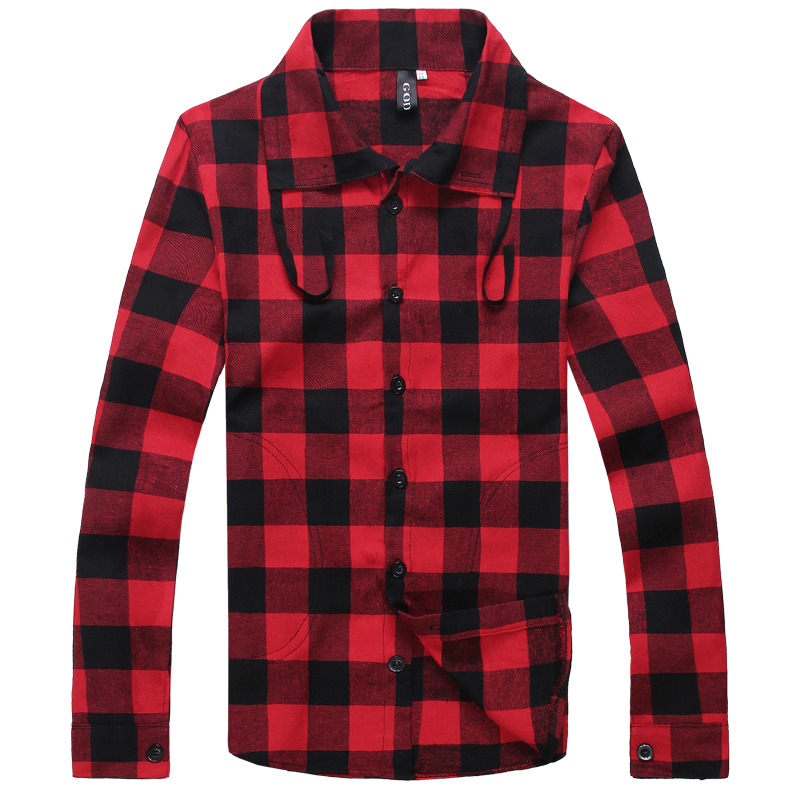 2014 classic plaid shirt men's long-sleeve red casual male top clothing Min order 15$ - jim yue's store