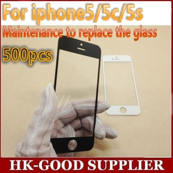 500pcs/lot For iPhone 5 5s 5c Front Glass Lens Replacement with glass Digitizer Cover black and white Free ups(China (Mainland))