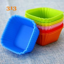 12pcs/lot square shape silicone cupcakes cooking molds pudding styling tools kitchen cake bakery accessories