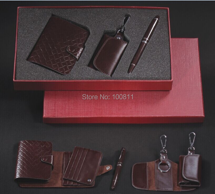 Wholesale on line Business leather promotion gift sets key chain of H style &amp;Classical signature pen&amp;card case<br><br>Aliexpress
