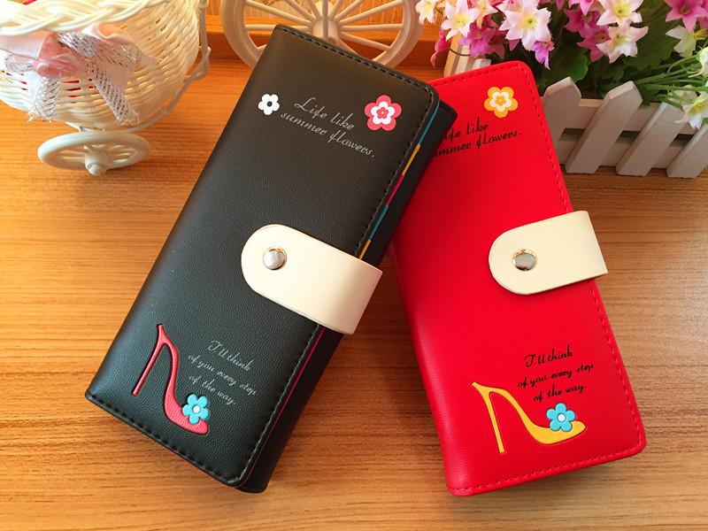 ODEMA New Flower Women Wallet PU Leather Long Clutch Handbag Fashion Hasp Lady Card Holders