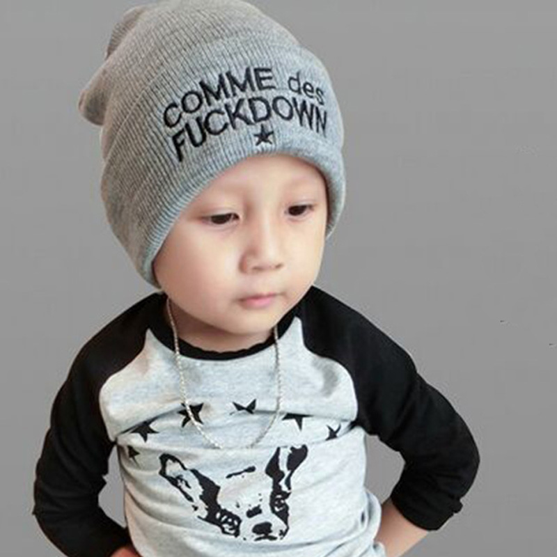 2016 new comme baby caps for children baggy hat letter