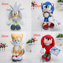 8'' 4pcs/lot Sonic the Hedgehog Plush Toys Ultimate Flash Sonic Hedgehog Plush Doll Good Gift For Kids Free Shipping(China (Mainland))
