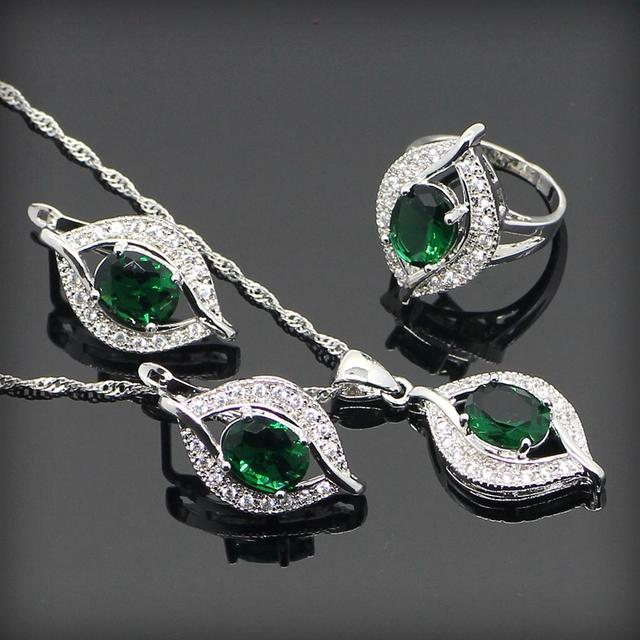 Зеленый изумрудный белый топаз 925 серебряных ювелирных изделий устанавливает для ...