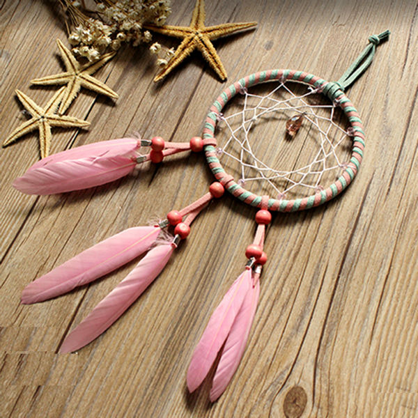 Pink feather dreamcatcher wall hanging drop interspersed for Handmade things for decoration