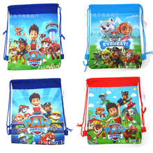 2pcs student cartoon dog patrols sided non-woven Drawstring Backpack Drawstring bags environmental bags pencil bags(China (Mainland))