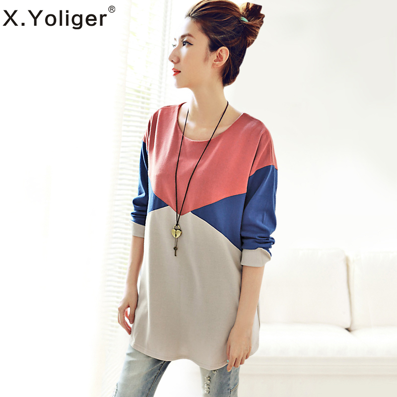 2015 New Autumn Long Sleeve Casual Women T-shirt Street style Round Neck Hit Color Patchwork Tee Tops 142226(China (Mainland))