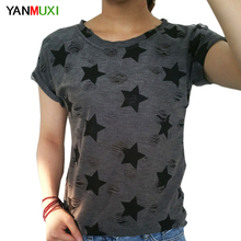 Buy 2017 Women Fashion Hole Harajuku T shirt Ladies short sleeve star print vintage casual T-shirt big size summer tops woman for $5.60 in AliExpress store