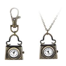 Handbag Vintage Quartz Watches Pocket Watch Key Ring Necklace Gift(China (Mainland))