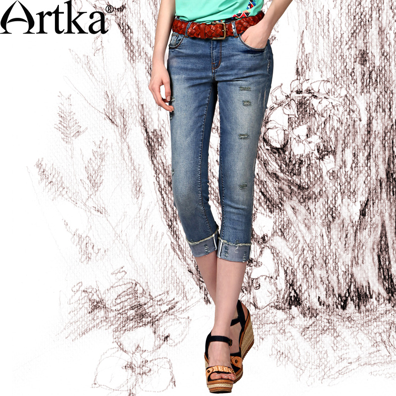 Artka Women'S Casual Style Slim All-Match Summer Bleached Ripped Washed Comfortable Breathable Roll-Up Jeans KN13748X(China (Mainland))