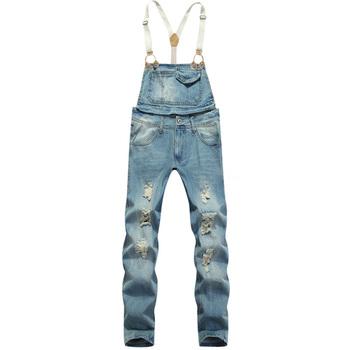 Мода мужская тонкий пят нагрудник брюки мужчины отверстие рваные джинсы подтяжки ...