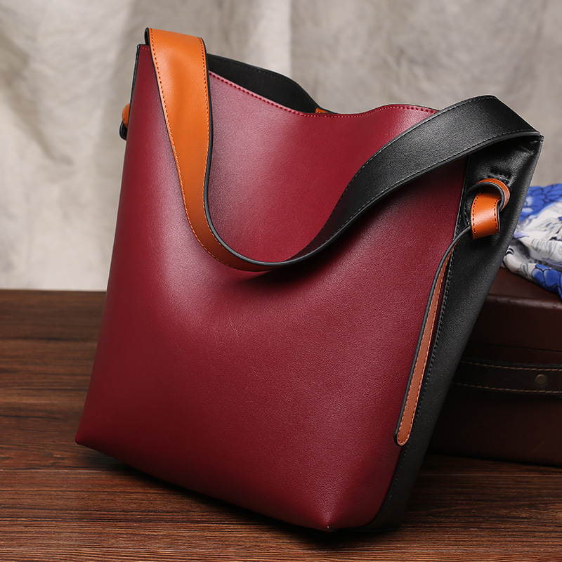 New Design Large Genuine Leather Bucket Bags Candy Color Ladies Crossbody Bags Tote Shopper Bag Shoulder Bags For Women Sac Cuir(China (Mainland))