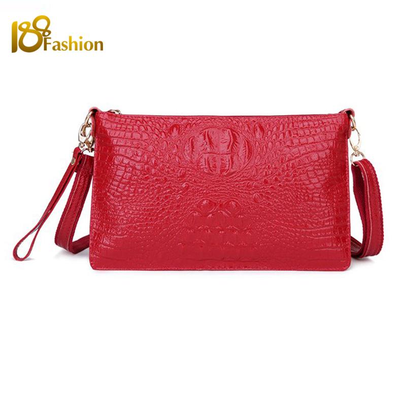 2015 Women Messenger Bags Genuine Leather Fashion Women Crossbody Bag Shoulder Bags for women Crocodile Pattern Vintage Clutch