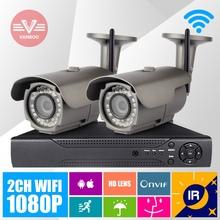 2CH Video Surveillance System 2pcs 1920 * 1080P HD Wireless waterproof IP Cam 4CH H.264 Onvif NVR With 2TB HDD
