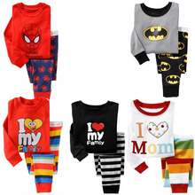 2014 baby boy girl Pajamas Outfits Sleeve Sets Sleepwear Spiderman Batman children clothes kid clothing wear(China (Mainland))
