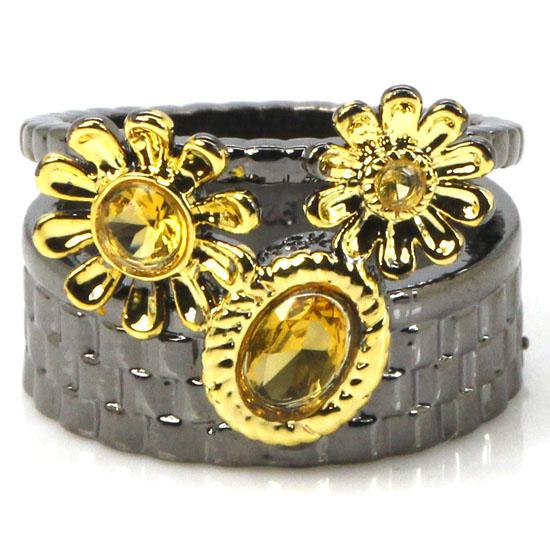 Vintage Style Golden Citrine Wedding Ladies 925 Black Gold Silver Ring US SZ 7# 21x15mm(China (Mainland))