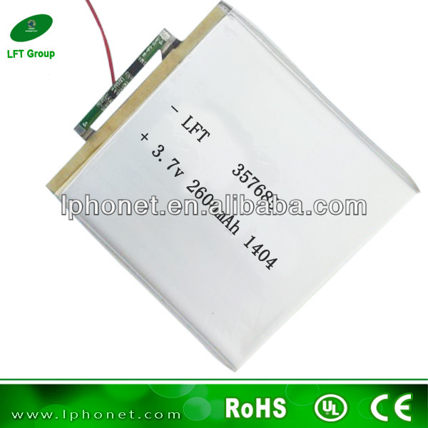 357685 2600mah 3.7v battery 3.7v li-ion rechargeable batteries for intelligent robot vacuum cleaner(China (Mainland))