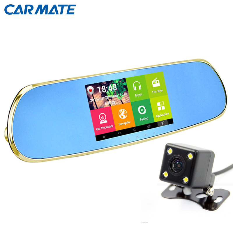 New 5 inch Android Car DVR mirror with rearview camera Video recorder DVR with two cameras full hd 1080P dashcam black box(China (Mainland))