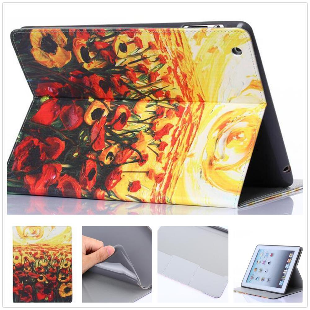Retro Oil Painting Cover Leather Case For Ipad 2 Ipad 3