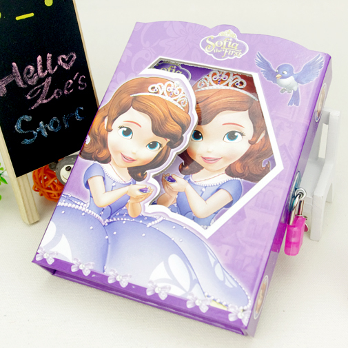 Pretty Princess Locked Cartoon School Supplies Stationery Cute Diary Notebook Girls Notepad Sketchbook Gifts For Children HZA061(China (Mainland))