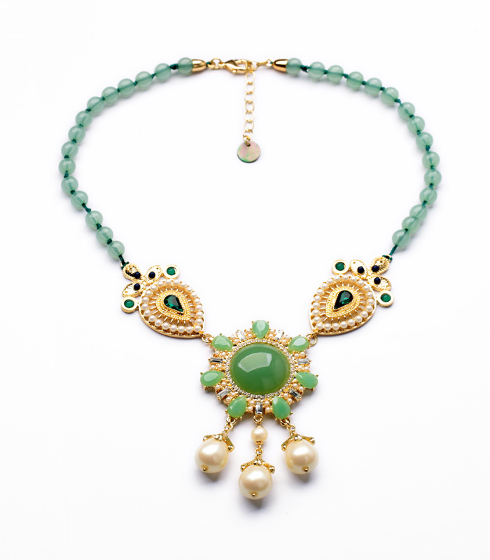Fashion Dress Match Best Seller New Arrival Resin Glass Zinc Alloy Rope Beads Chain Pendant Gem Elegant Emerald Pearl Necklace(China (Mainland))