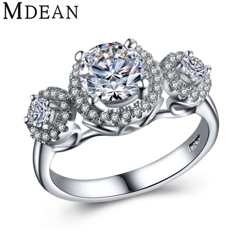 Genuine Pure Solid 4.5 Gram 925 Sterling Silver Jewelry CZ Diamond Engagement Rings For Women Wedding Bague Female Bijoux MSR431(China (Mainland))