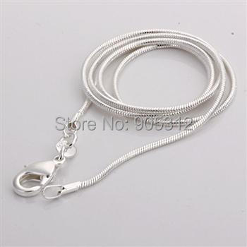"5pcs Free shipping Xmas Wholesale 1mm Sterling 925 silver 100% snake chain necklace C008 16"" ,18"", 20"", 22"",24inch wedding party(China (Mainland))"