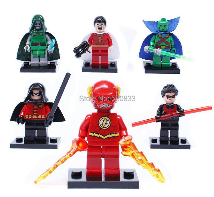 DECOOL 0128-0133 Super Hero Minifigure Flash/Night Wing /Doctor Doom/Robin Building Blocks Sets,Compatible Lego,T13 - factory LEGOtoys store