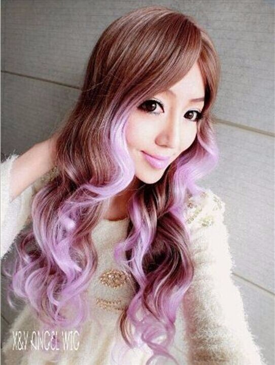 Ombre Hair 65CM Long Two Tone Color Curly Synthetic Fiber With Bangs Wig High Temperature Sexy Women Styling Double Colour Wigs<br><br>Aliexpress