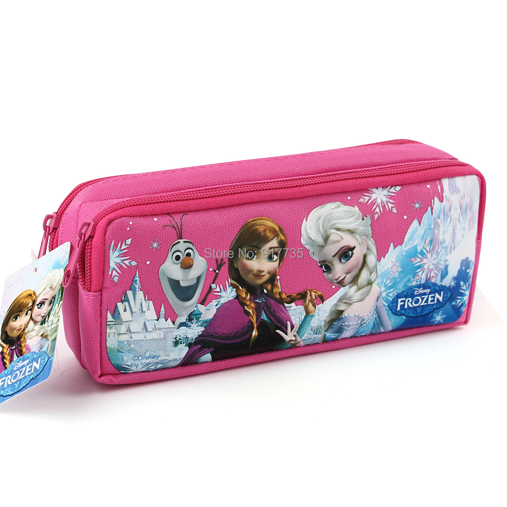 New Hot Pink Cartoon Princess Anna Elsa Printed School Student Pencil Bags Pencil Case Children Girls Pencil Bags Gift Prize(China (Mainland))