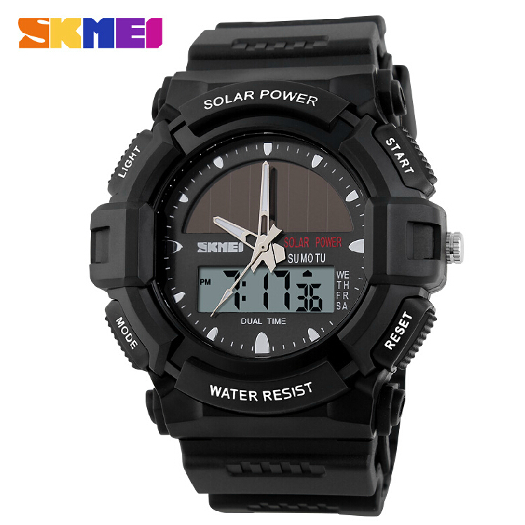 Outdoor Sports Watches SKMEI Brand Solar Power 2 Time Zone Digital Quartz Watch 50m Waterproof LED Dive Men Dress Wristwatches<br><br>Aliexpress