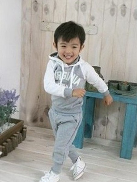 2016 Newest Kids clothes set, hoodies pant set, children wear Gray color cotton