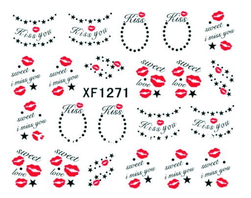 Free Shipping 20pcs/lot Nail Art Wrap Water Transfers Stickers Floral Decals Lip Designs Sweet Love