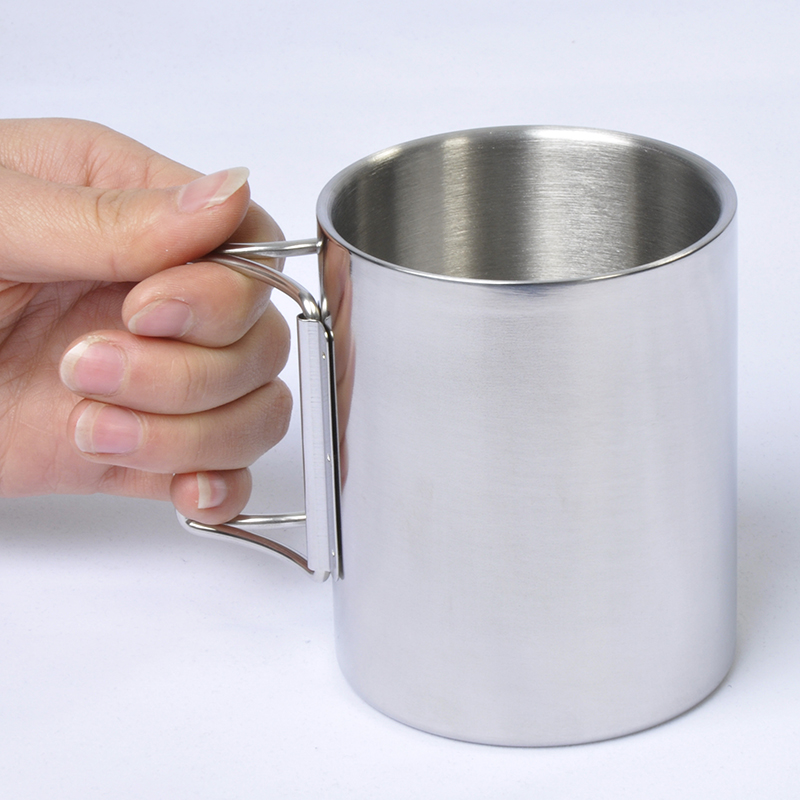 Outdoor Camping Double Wall Stainless steel Cup Mug-Silver(300ML) Free Shipping with Hinged Handles foldable handle fishing(China (Mainland))