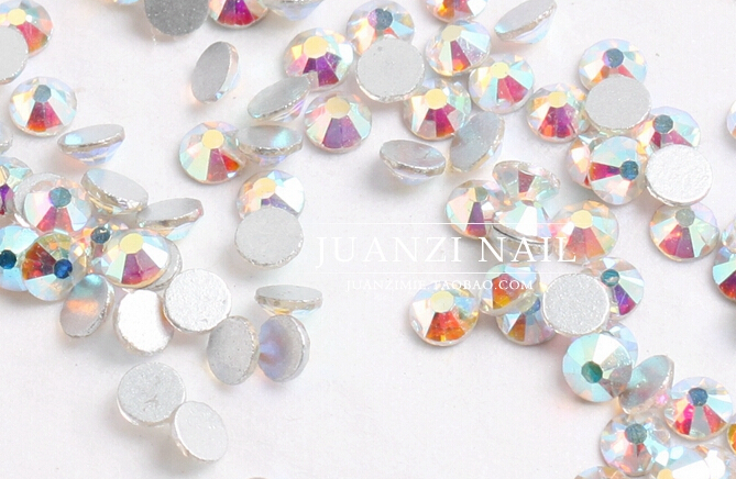 Wholesale ss3 -ss40 Flat Back Crystal AB ( 3d Nail Art decorations ) Non Hot Fix Glue on rhinestones for nails stone DIY(China (Mainland))